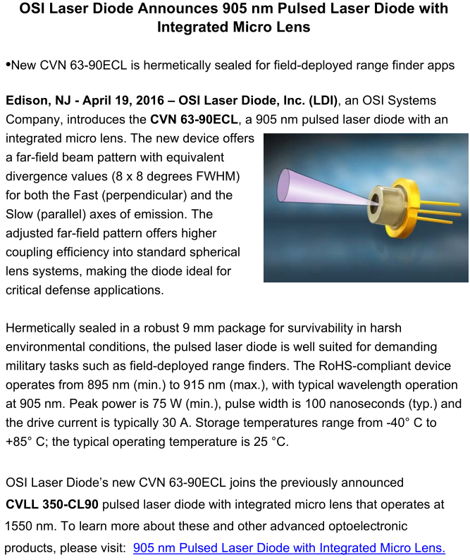 OSI LDI Announces 905nm Pulsed Laser Diode w/ Integrated Micro Lens