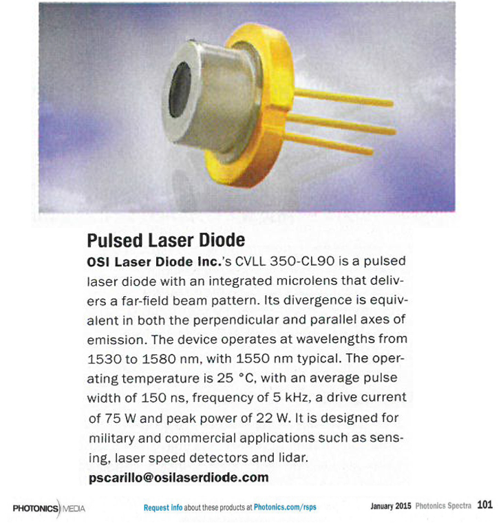 OSI introduces its NEW Pulsed Laser Diode with Integrated Microlens